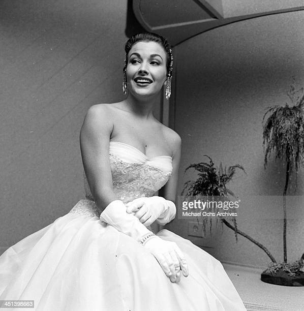 Actress Mara Corday poses at the Makeup Artist ball in Los AngelesCalifornia