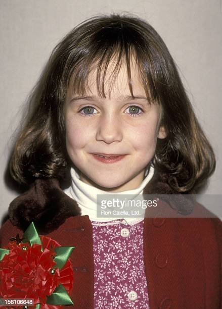 Actress Mara Wilson attends the 63rd Annual Hollywood Christmas Parade on November 27 1994 at KTLA Studios in Hollywood California