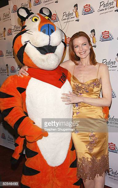 Actress Marcia Cross and Tony the Tiger attend Eva Longoria Honored at Padres Contra El Cancer 20th Anniversary Gala at Skirball Cultural Center on...