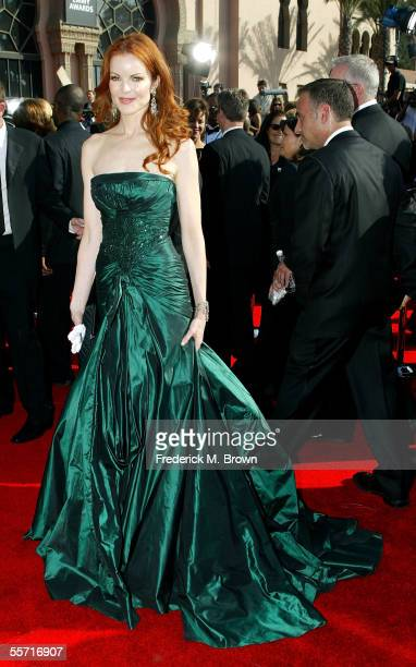 Actress Marcia Cross nominated for Lead Actress in a Comedy for ABC's Desperate Housewives arrives at the 57th Annual Emmy Awards held at the Shrine...