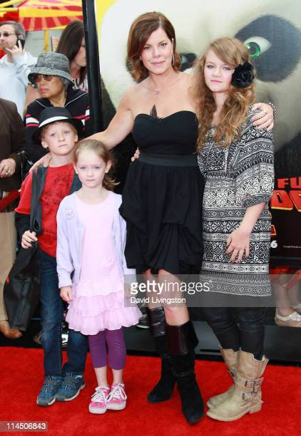 Actress Marcia Gay Harden and children Hudson Harden Scheel Julitta Harden Scheel and Eulala Scheel attend the premiere of DreamWorks Animation's...
