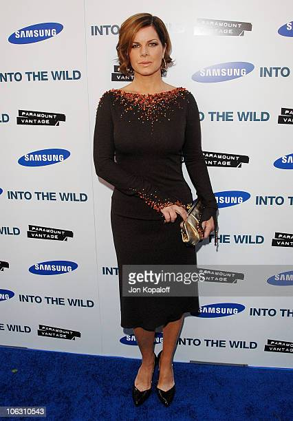 Actress Marcia Gay Harden arrives at the Los Angeles Premiere Into The Wild at the Directors Guild of America on September 18 2007 in West Hollywood...
