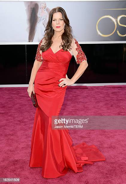 Actress Marcia Gay Harden arrives at the Oscars at Hollywood Highland Center on February 24 2013 in Hollywood California