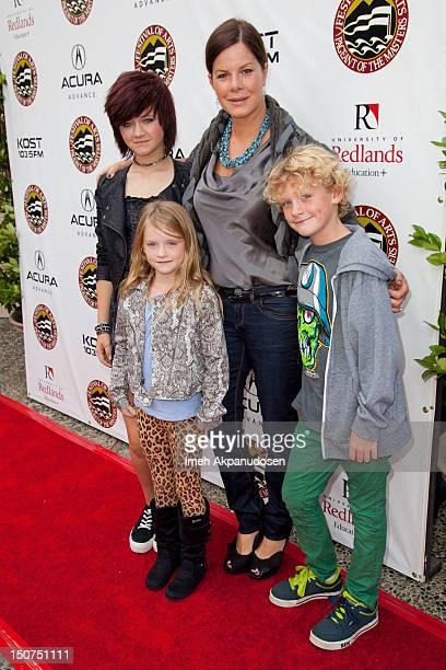 Actress Marcia Gay Harden with her children Eulala Scheel Julitta Dee Harden Scheel and Hudson Harden Scheel attend Laguna Beach Festival of Arts'...