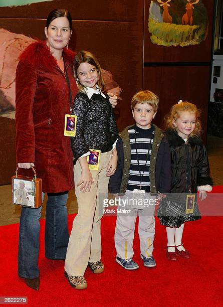 Actress Marcia Gay Harden with niece Audrey and nephew Sander attend the Walt Disney Pictures premiere of 'Brother Bear' at the New Amsterdam Theatre...