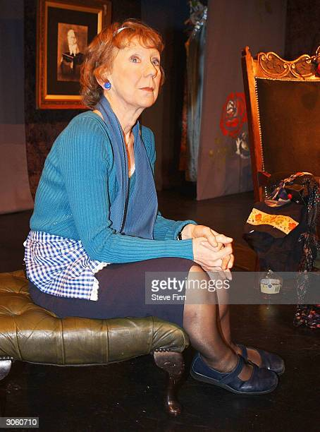 Actress Marcia Warren performs during a photocall for the new play 3 Women at the Riverside Studios on March 10 2004 in Shoreditch London England The...