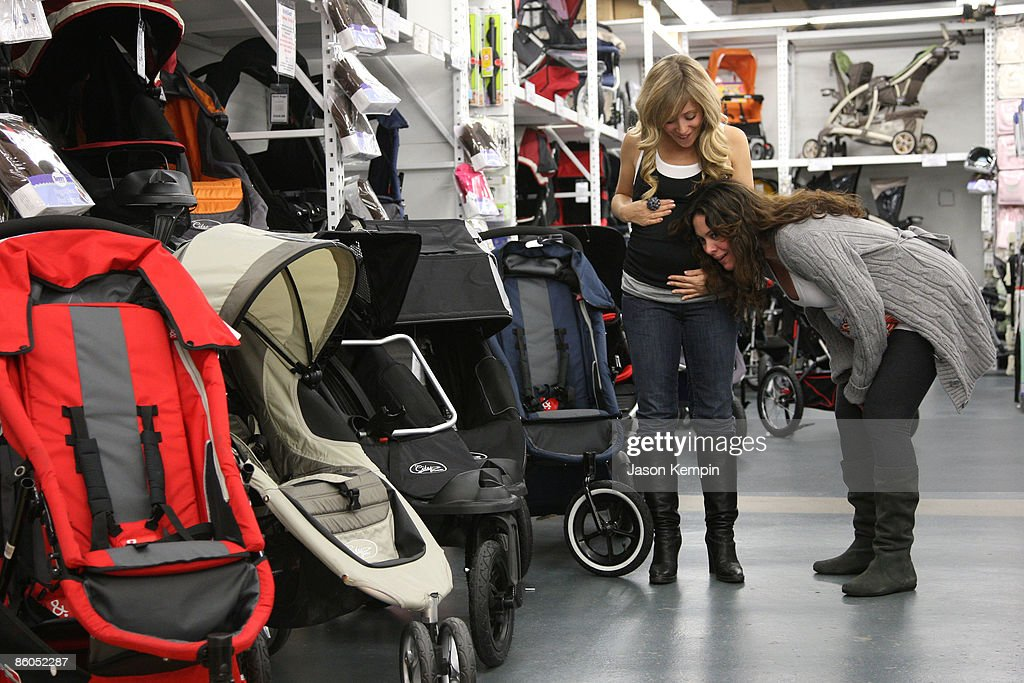 Actress Marcy Rylan and actress Jessica Leccia shop at Buy Buy Baby on April 20, 2009 in New York City.