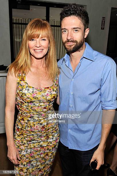 Actress Marg Helgenberger and actor Topher Grace attend the ICM Partners PreEmmy Brunch at Fig Olive Melrose Place on September 22 2012 in West...