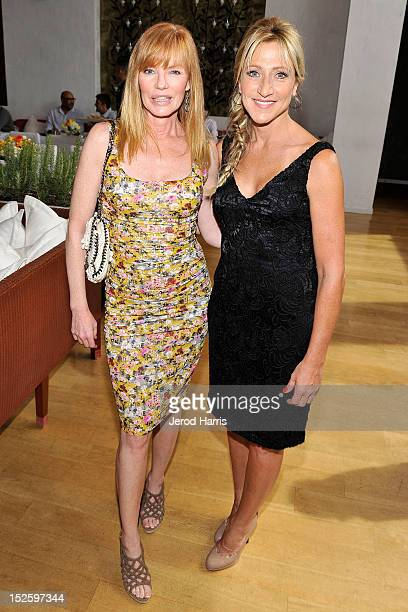 Actress Marg Helgenberger and Edie Falco attend the ICM Partners PreEmmy Brunch at Fig Olive Melrose Place on September 22 2012 in West Hollywood...