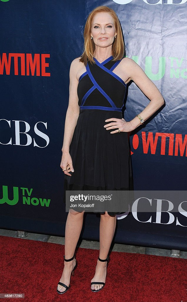 Actress Marg Helgenberger arrives at CBS, CW And Showtime 2015 Summer TCA Party at Pacific Design Center on August 10, 2015 in West Hollywood, California.