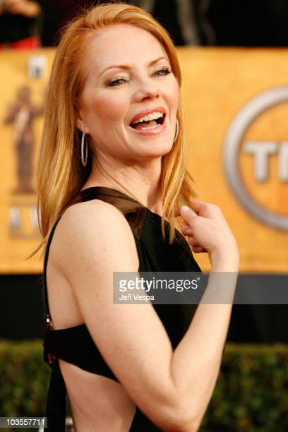 Actress Marg Helgenberger arrives to the 14th Annual Screen Actors Guild Awards at the Shrine Auditorium on January 27, 2008 in Los Angeles,...