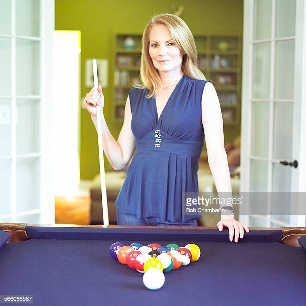"""Actress Marg Helgenberger, formerly of """"Ryan's Hope,"""" nominated for an Oscar for """"Erin Brockovich"""" and now the female lead on """"CSI"""" with her pool..."""