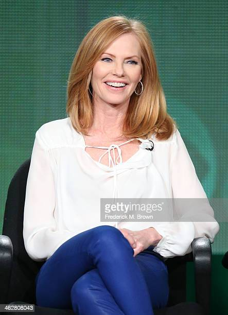 Actress Marg Helgenberger of the television show 'Intelligence' speaks onstage during the CBS portion of the 2014 Winter TCA tour at the Langham...