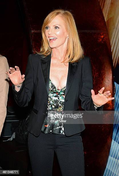 """Actress Marg Helgenberger reacts as she arrives at the red carpet for CNET'S premiere party for the CBS television show """"Intelligence"""" during the..."""