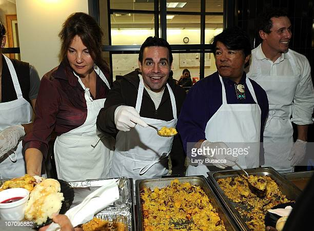 Actress Margaret Colin actor Mario Cantone Oneida Indian Nation Representative Ray Halbritter and Christopher Cuomo serve food at HELP USA and Oneida...