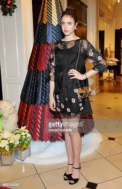 Actress Margaret Qualley attends the Brooks Brothers holiday party with St Jude Children's Research Hospital at Brooks Brothers on Rodeo Drive on...