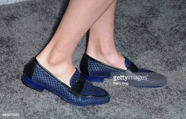 Actress Margaret Qualley shoe detail attends the premiere of HBO's 'The Leftovers' Season 3 at Avalon Hollywood on April 4 2017 in Los Angeles...