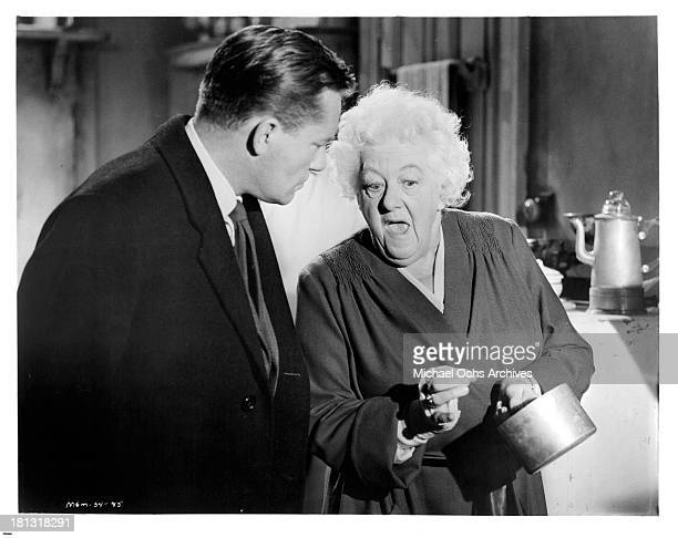Actress Margaret Rutherford and actor Charles Tingwell on the set of the movie Murder Most Foul in 1964