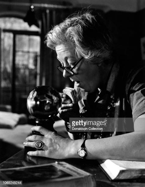 Actress Margaret Rutherford in a scene from the movie Blithe Spirit