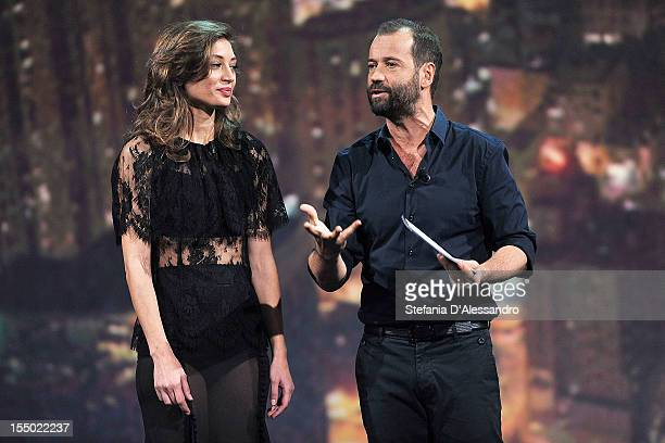Actress Margareth Made and Fabio Volo attends 'Volo In Diretta' TV Show on October 30 2012 in Milan Italy