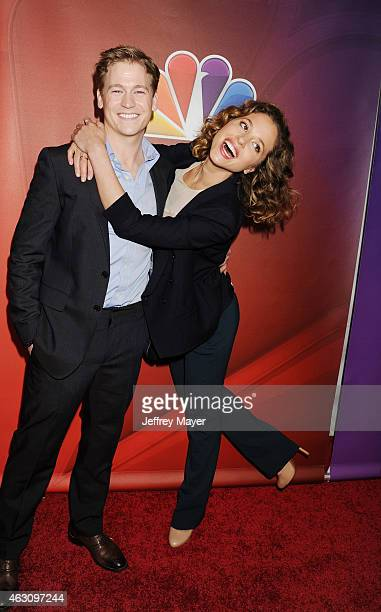 Actors Gavin Stenhouse and Margarita Levieva attend the NBCUniversal 2015 Press Tour at the Langham Huntington Hotel on January 16 2015 in Pasadena...