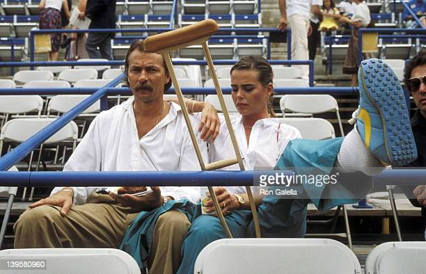 Actress Margaux Hemingway and husband Bernard Foucher attend the Eighth Annual Robert F Kennedy ProCelebrity Tennis Tournament on August 25 1979 at...