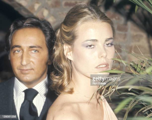 Actress Margaux Hemingway and husband Erroll Wetson attend the Faberge's New Fragrance Babe Launch Party on November 17 1975 at Cecil's Restaurant in...