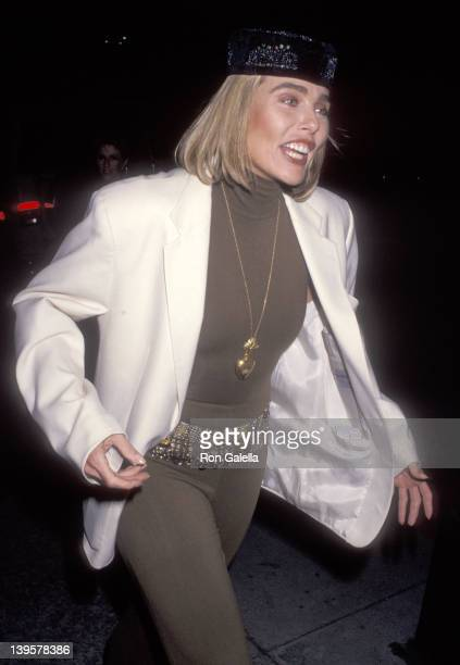 """Actress Margaux Hemingway attends Richard Bernstein's """"Icons and Legends"""" Art Exhibition on November 20, 1991 at Cornerstone Galleries in Beverly..."""