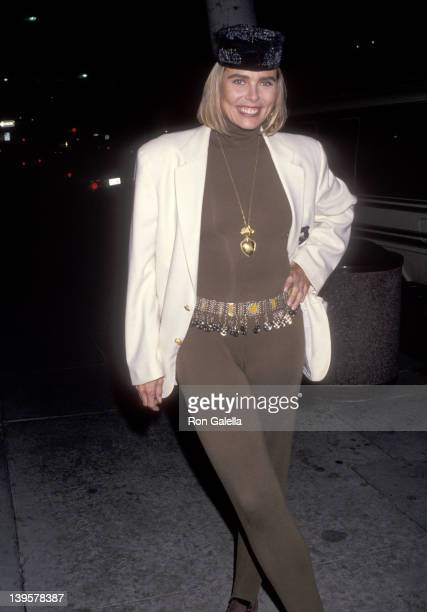 "Actress Margaux Hemingway attends Richard Bernstein's ""Icons and Legends"" Art Exhibition on November 20, 1991 at Cornerstone Galleries in Beverly..."