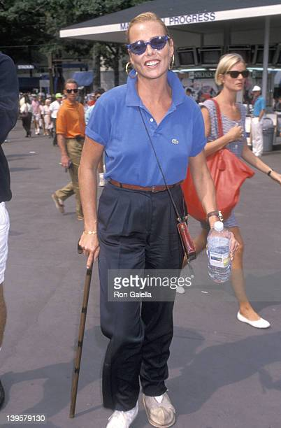 Actress Margaux Hemingway attends the 1990 US Tennis Open on September 5 1990 at Flushing Meadows Park in Flushing Queens New York