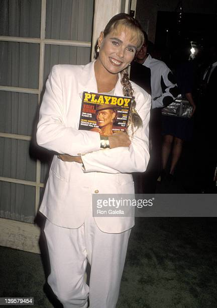Actress Margaux Hemingway attends the Cocktail Party to Celebrate Playboy Magazine's May 1990 Issue Featuring Margaux Hemingway on April 16 1990 at...