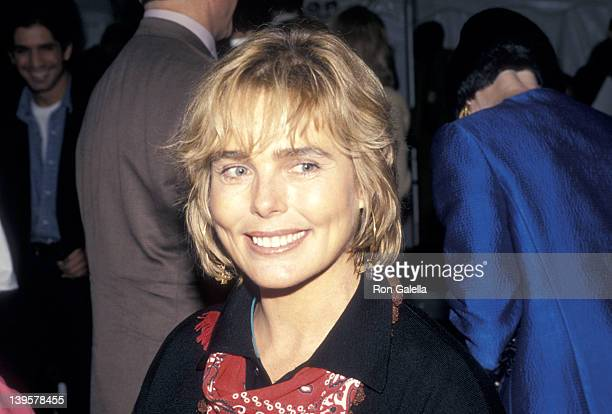 Actress Margaux Hemingway attends the Fall 1994 Fashion Week Calvin Klein Fashion Show on April 10 1994 at Bryant Park in New York City