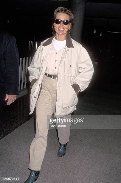Actress Margaux Hemingway on February 13 1996 arrives at the Los Angeles International Airport in Los Angeles California