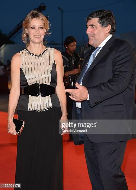 Actress Margherita Buy and mayor of Taormina Eligio Giardina attends Premio Kineo Red Carpet during the 70th Venice International Film Festival at...