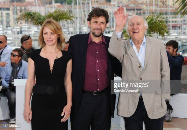 Actress Margherita Buy director Nanni Moretti and actor Michel Piccoli attend the Habemus Papam Photocall during the 64th Annual Cannes Film Festival...