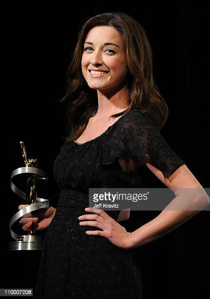 Actress Margo Harshman, recipient of the Female Stars of Tomorrow Award, attends the 2009 ShoWest convention final night banquet and awards ceremony...