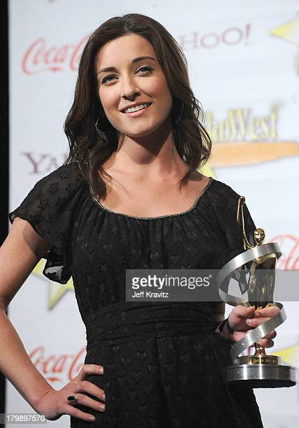 Actress Margo Harshman recipient of the Female Stars of Tomorrow Award attends the 2009 ShoWest convention final night banquet and awards ceremony...