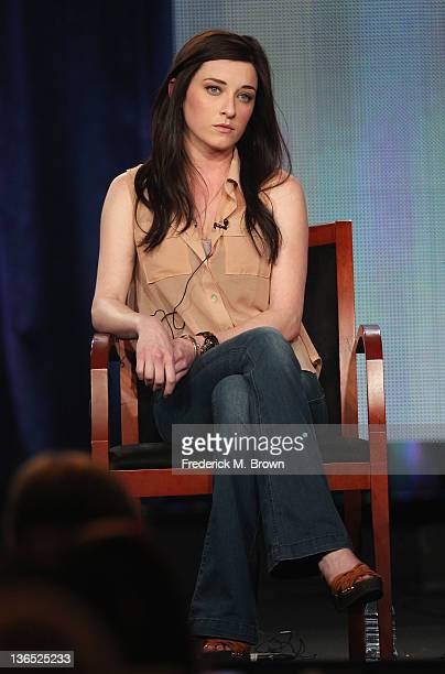 """Actress Margo Harshman speaks onstage during the """"Bent"""" panel during the NBCUniversal portion of the 2012 Winter TCA Tour at The Langham Huntington..."""