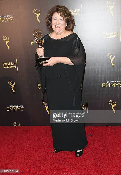 Actress Margo Martindale winner for Outstanding Guest Actress In A Drama Series poses in the press room at the 2016 Creative Arts Emmy Awards at...
