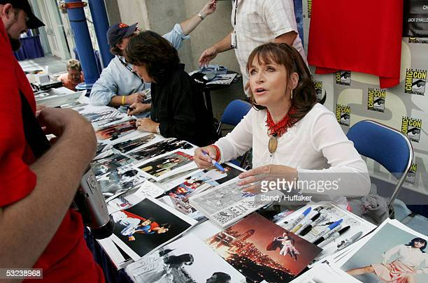 Actress Margot Kidder signs autographs at Comic Con International July 14 2005 in San Diego California Comic Con is the largest comic convention in...