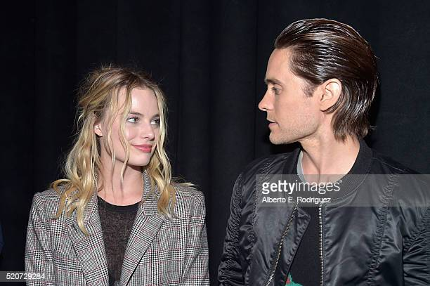 Actress Margot Robbie and actor Jared Leto attend CinemaCon 2016 Warner Bros Pictures Invites You to 'The Big Picture' an Exclusive Presentation...