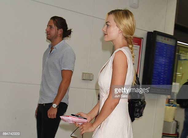 Actress Margot Robbie and boyfriend Tom Ackerley are seen upon arrival at Narita International Airport on August 24 2016 in Narita Japan