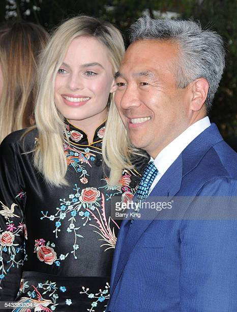 Actress Margot Robbie and CEO of Warner Bros Entertainment Kevin Tsujihara attend the premiere of Warner Bros Pictures' 'The Legend Of Tarzan' at...