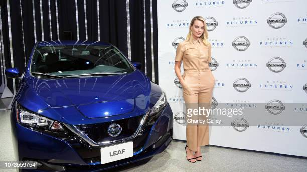 Actress Margot Robbie arrives at Nissan Futures a global forum to discuss the future of autonomy electrification and connectivity at the Japanese...