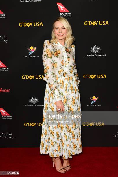 Actress Margot Robbie arrives at the 2018 G'Day USA Los Angeles Black Tie Gala at InterContinental Los Angeles Downtown on January 27 2018 in Los...