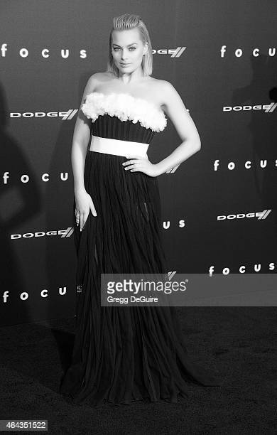 Actress Margot Robbie arrives at the Los Angeles World Premiere of Warner Bros Pictures Focus at TCL Chinese Theatre on February 24 2015 in Hollywood...