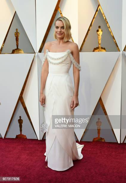 Actress Margot Robbie arrives for the 90th Annual Academy Awards on March 4 in Hollywood California / AFP PHOTO / VALERIE MACON