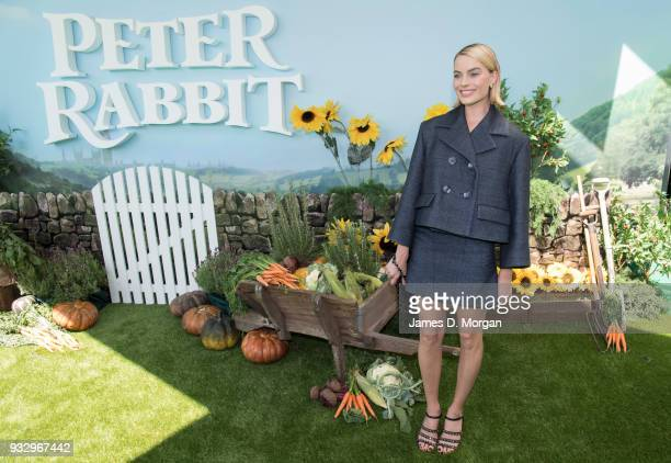 Actress Margot Robbie as she attends the Peter Rabbit Australian Premiere on March 17 2018 in Sydney Australia