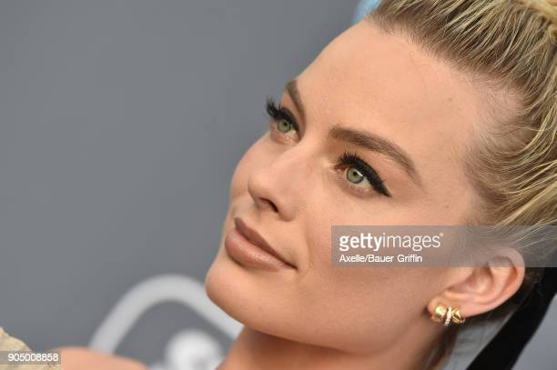 Actress Margot Robbie attends the 23rd Annual Critics' Choice Awards at Barker Hangar on January 11 2018 in Santa Monica California