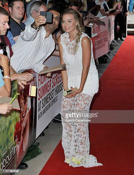 Actress Margot Robbie attends the About Time world premiere at Somerset House on August 8 2013 in London England
